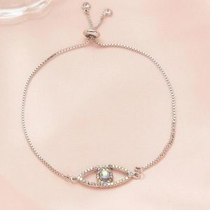 Silver Iridescent Evil Eye Cubic Zirconia Adjustable Bracelet